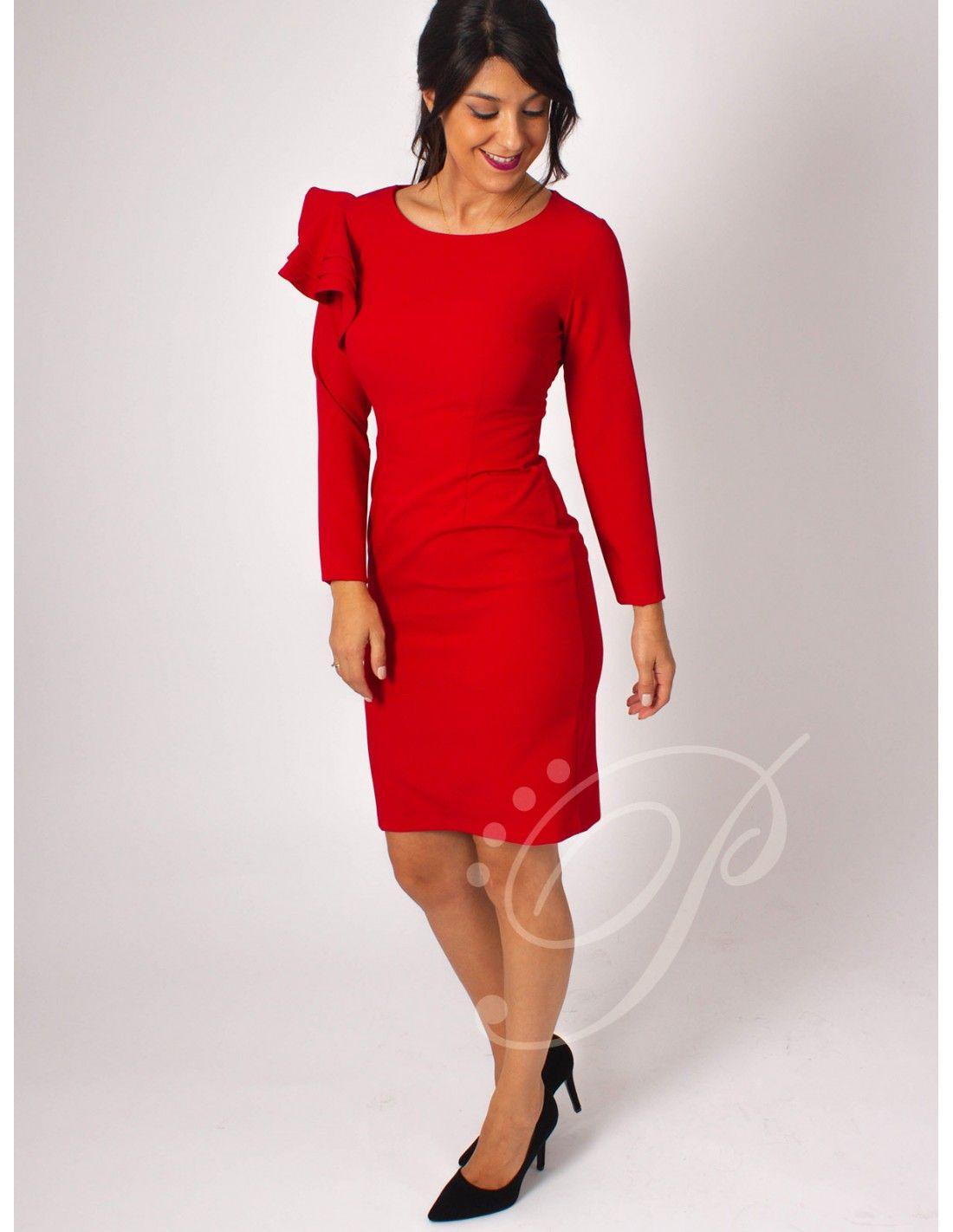 Vestido Aveyron - Vestido de corte midi en color rojo. Escote redondo.  Manga larga 8960a038fe58