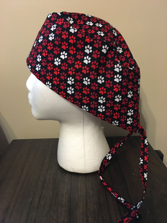 Red and White Paw Prints on Black Scrub Cap, Surgery Cap, Scrub Hat ...