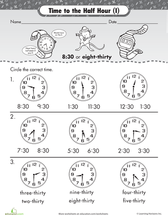 Worksheets Telling Time To The Hour And Half Hour Worksheets on the half hour telling time with malcolm mouse creative to mouse