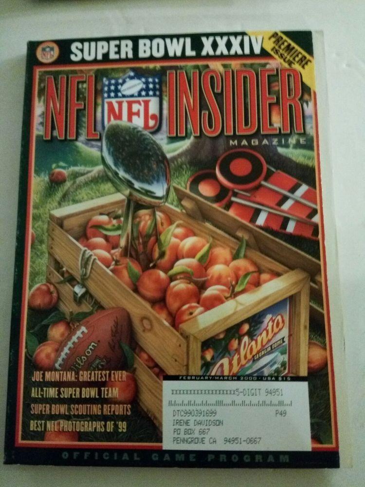 2000 NFL Insider Magazine Super Bowl XXXIV/Premiere Issue