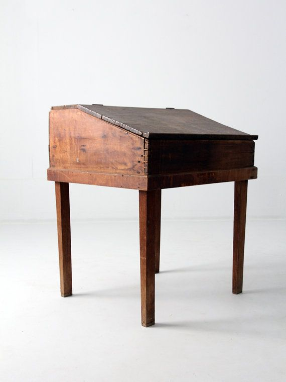 A 19th Century Antique Slant Top Desk The Natural Wood Features Slanted Flip Front Of Has Dovetail Joints And Primitive Nails