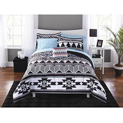 Black White Tribal Array Aztec Comforter Set Full Sheets Motif