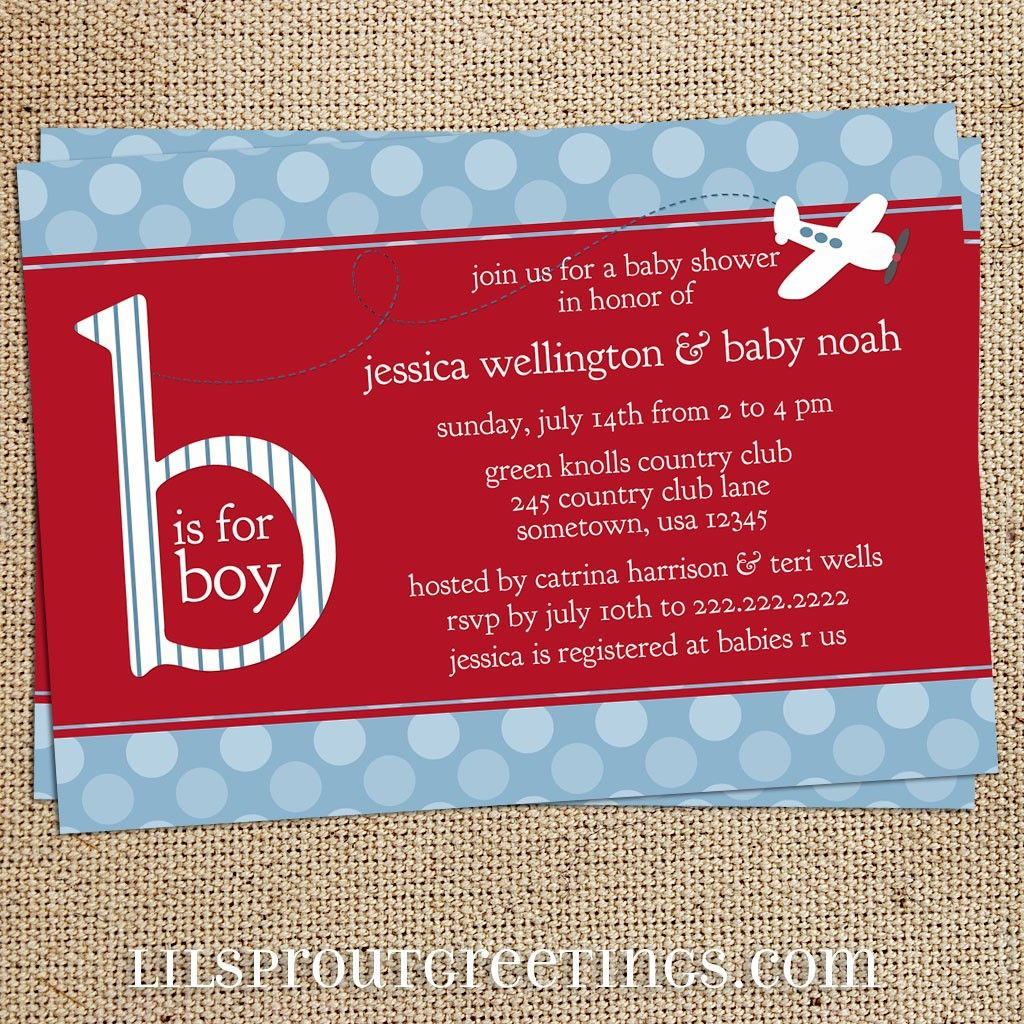 Airplane Baby Shower Invitation Boys Birth By Lilsproutgreetings