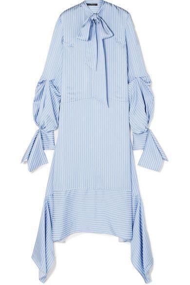 Rokh Tie Detailed Striped Satin Dress Stripes Fashion Satin