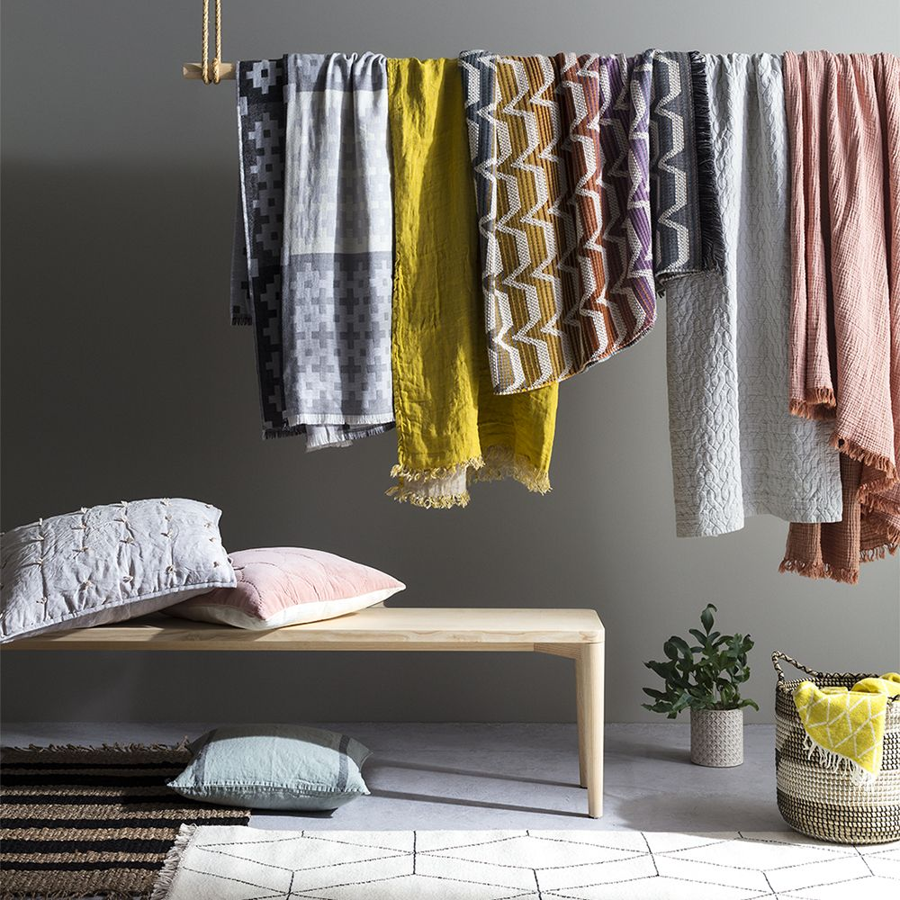 From quilted cushions to hand-loomed blankets, update every room with colourful new textures. Pattered blankets and cushions are a simple way to refresh each room.