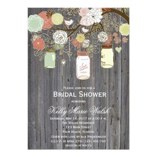 Country Rustic Mason Jar Bridal Shower Invites Invitations  #bridalshower