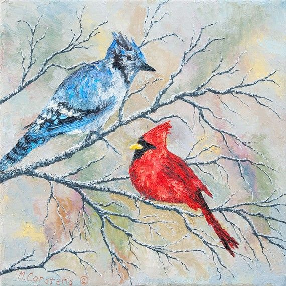 Blue Jay And Cardinal Hey Look The Birds I Want For My Back Are