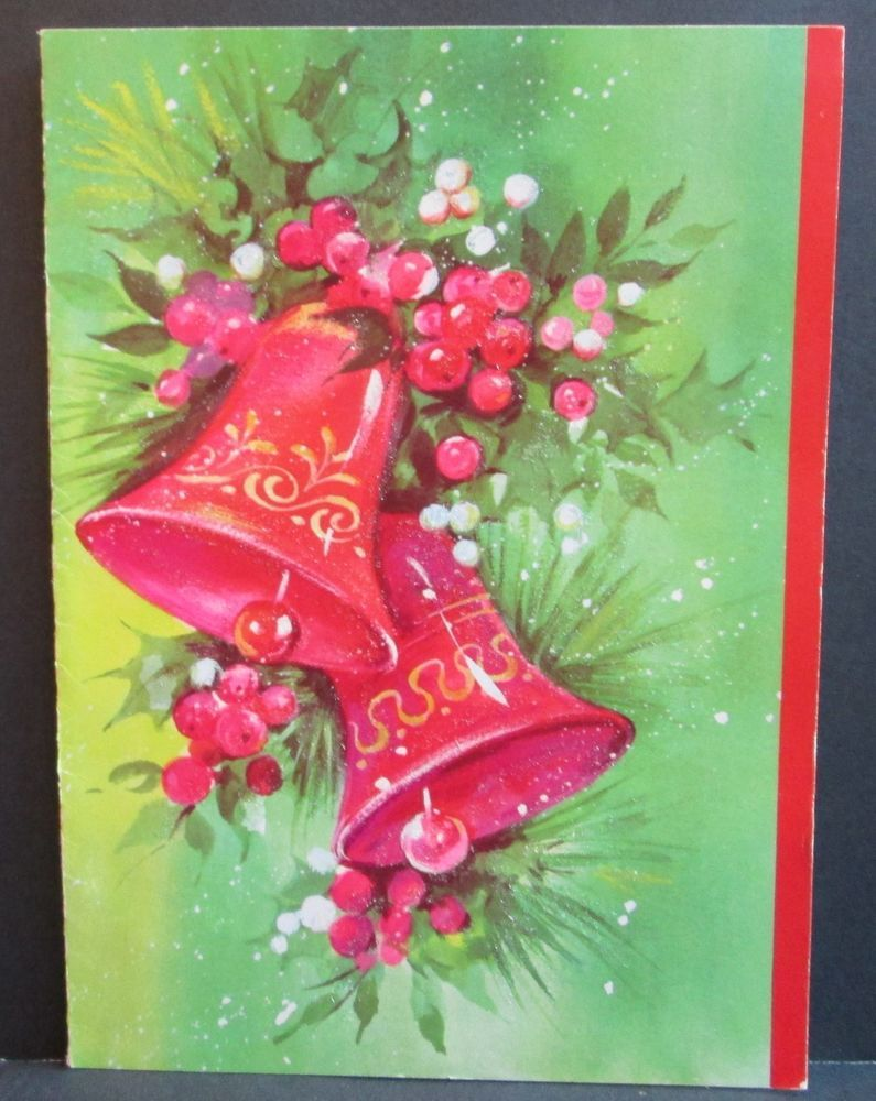 Vintage Quality Crest Christmas Greeting Card Pretty Christmas Bells ...