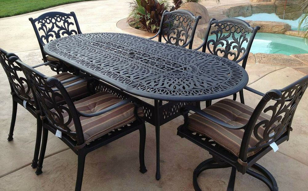 Details About Outdoor 7 Pc Dining Set Patio Furniture Oval Table