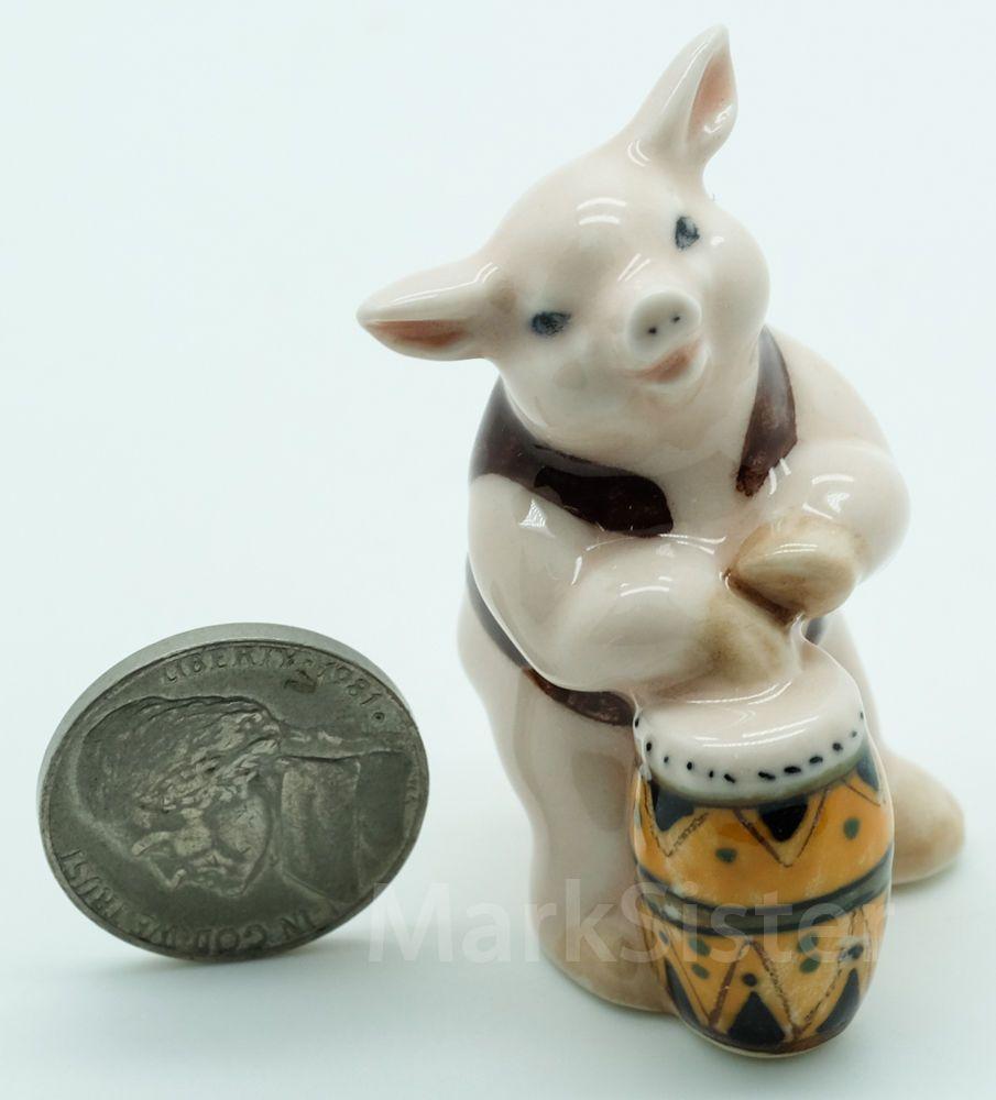figurine animal ceramic statue pink pig playing drum  fg  drums - figurine animal ceramic statue pink pig playing drum  fg