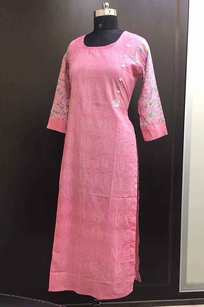Pink long casual wear straight cotton printed kalmkari non catalog