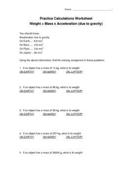 Calculate Weight Mass X Acceleration Due To Gravity Worksheet Persuasive Writing Prompts Word Problem Worksheets Calculating Force