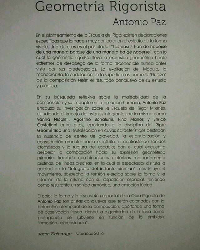 """Mi muestra """"Geometría Rigorista"""" en la Galería G Siete Ubicada en El Centro de Arte Los Galpones, Caracas Venezuela.  #AntonioPaz #GeometríaRigorista #ArteVenezolano #art #picture #artistcommunity #artsy #creative #photooftheday  #artoftheday #igers  #expresionismogeometrico #Venezuela  #Cinetic #artevenezuela #ArtRoma #artelatinoamericano #latinamericanart #ArtCartagena #Milán #artrio #ArtBasel #moma #instagood #dubai #arteenvenezuela #guggenheim #GagosianBeverlyHills #Qatar #2016"""
