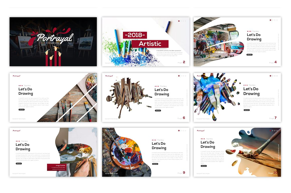 Portrayal Artistic Powerpoint Template Powerpoint Templates Powerpoint Custom Templates