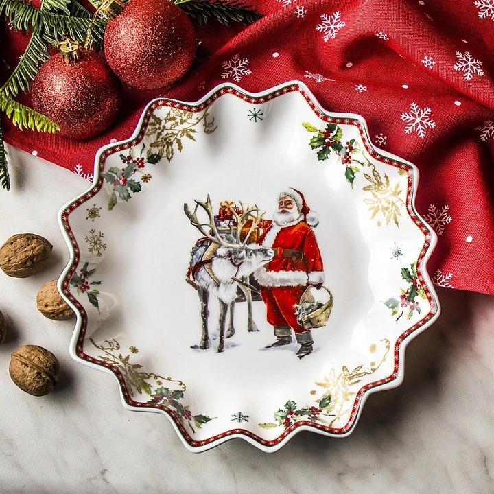 Talerz Swiateczny Polmisek Na Przekaski Mikolaj 8615370072 Oficjalne Archiwum Allegro Pie Dish Dishes Pie