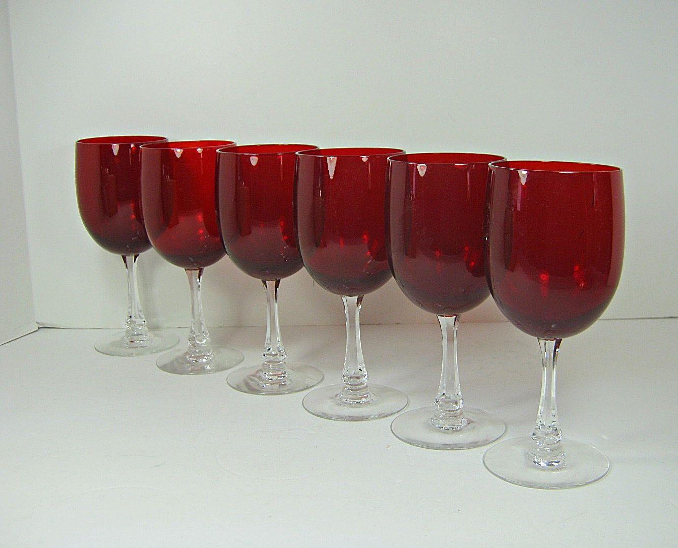 Vintage Ruby Red Wine Glasses Set 6 Fostoria Signed Crystal Stemware Glass Goblet Red Wine Glasses Crystal Stemware Crystal Wine Glasses