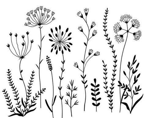 Sort-hvide planter og blomster i hjerteform Fototapet • Pixers® - Vi lever  for forandringer