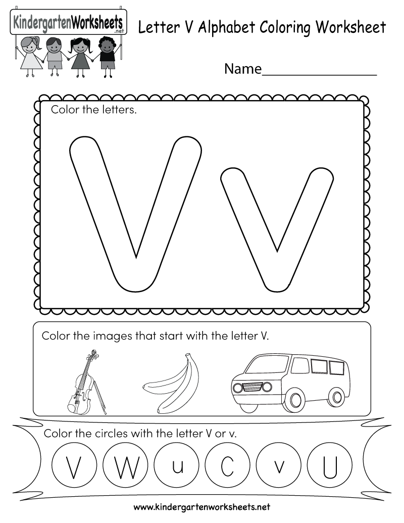 this is a letter v coloring worksheet children can color the letters and the images that begin. Black Bedroom Furniture Sets. Home Design Ideas