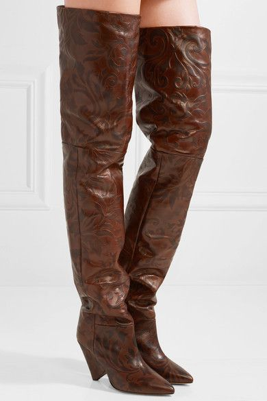 97f495caabd ISABEL MARANT edgy Lostynn embossed-leather over-the-knee boots in ...