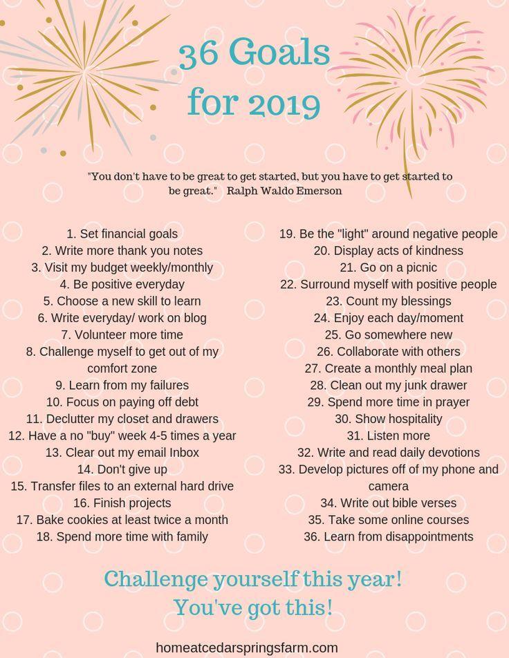 36 Goal Ideas for 2019 Life goals list, New year goals