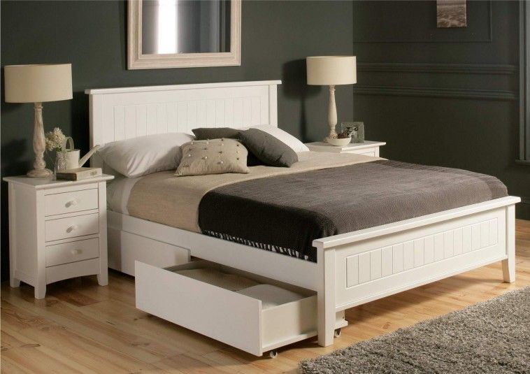 White Painted Wooden Bed Frames With Shelves With Queen Size Mattress Connected Grey Painted Wall White Bed Frame White Wooden Bed Bed With Drawers Underneath