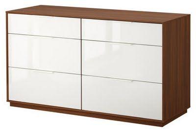 Credenza Ikea Marrone : Ikea nyvoll drawer dresser medium brown white width