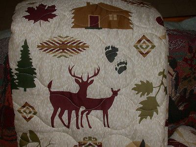 DeeR Fish KING QUILT + 2 shams cabin trout flyfishing elk Moose bird canoe Bear