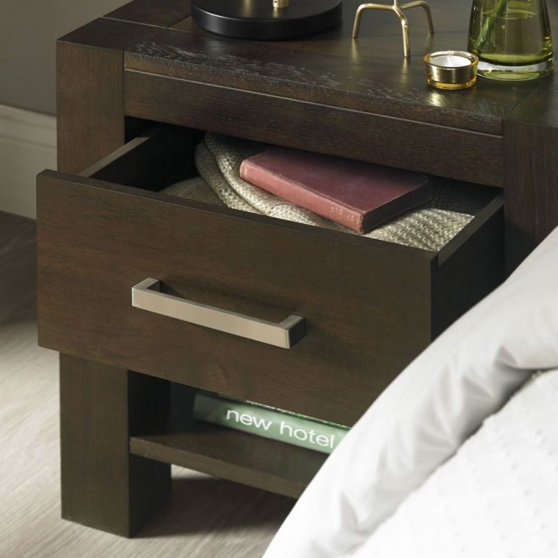 bf3e7c91fe Bentley Designs Lyon Walnut Bedside Table - 1 Drawer | Dark Wood ...