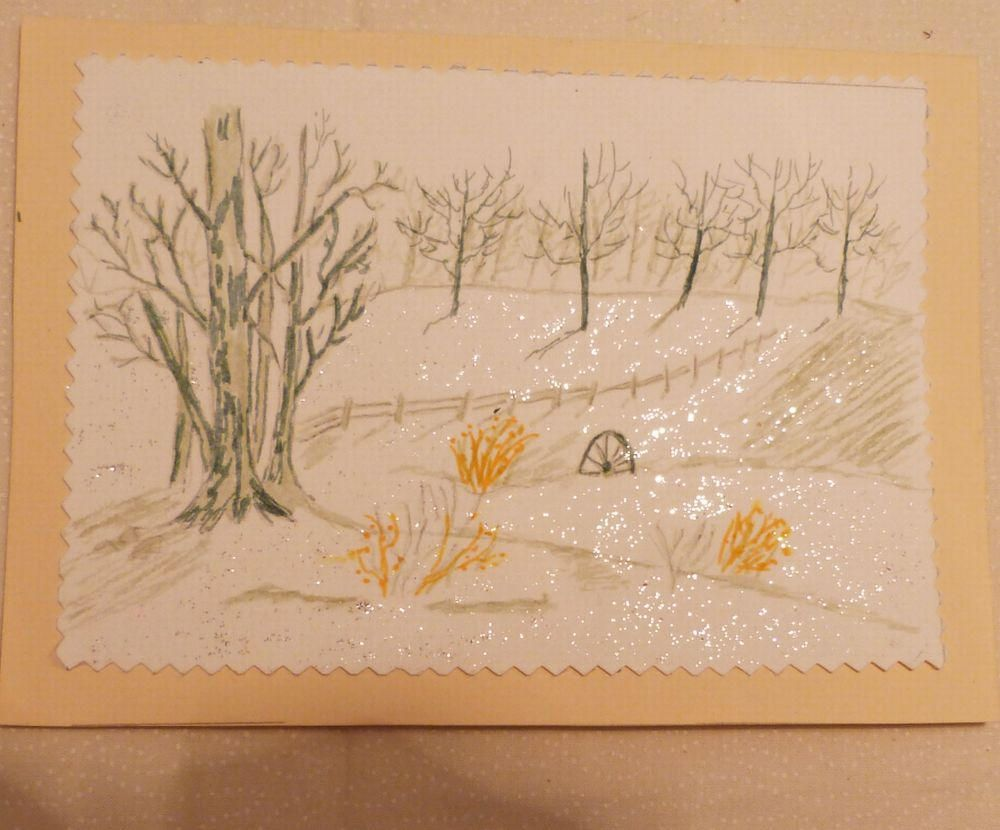 Handmade Greeting Card 5x7 Snow Scene Greeting Cards Hand Painted