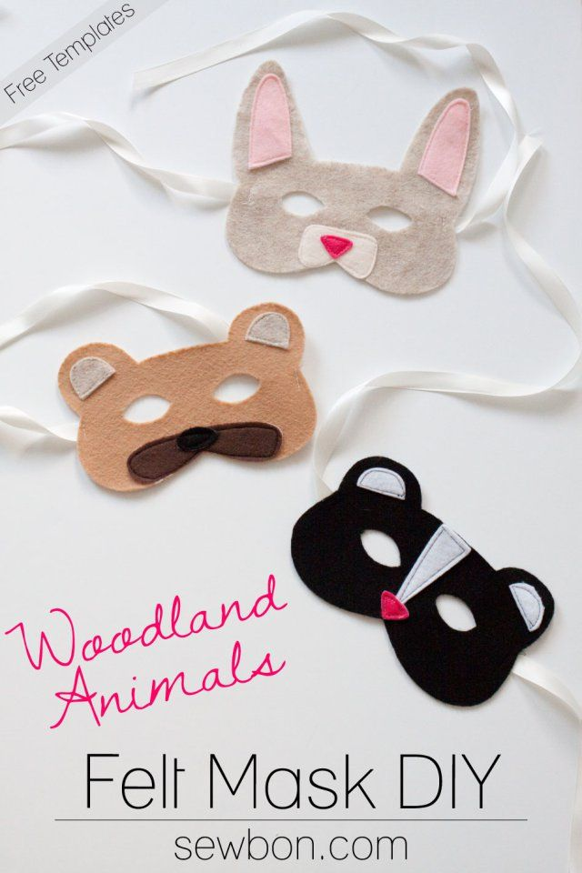 Woodland animal felt masks diy and free templates at for Woodland animal masks template