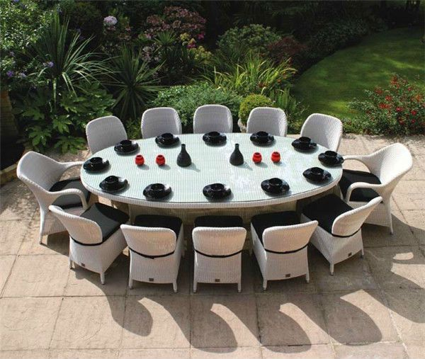 Luxurious Rattan Dining Table Set With 12 Chairs Sof1004 View