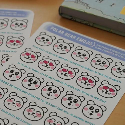 Polar Bear Emoji Sticker Sheet Environerd Studios Sticker Sheets Emoji Stickers Themed Stickers