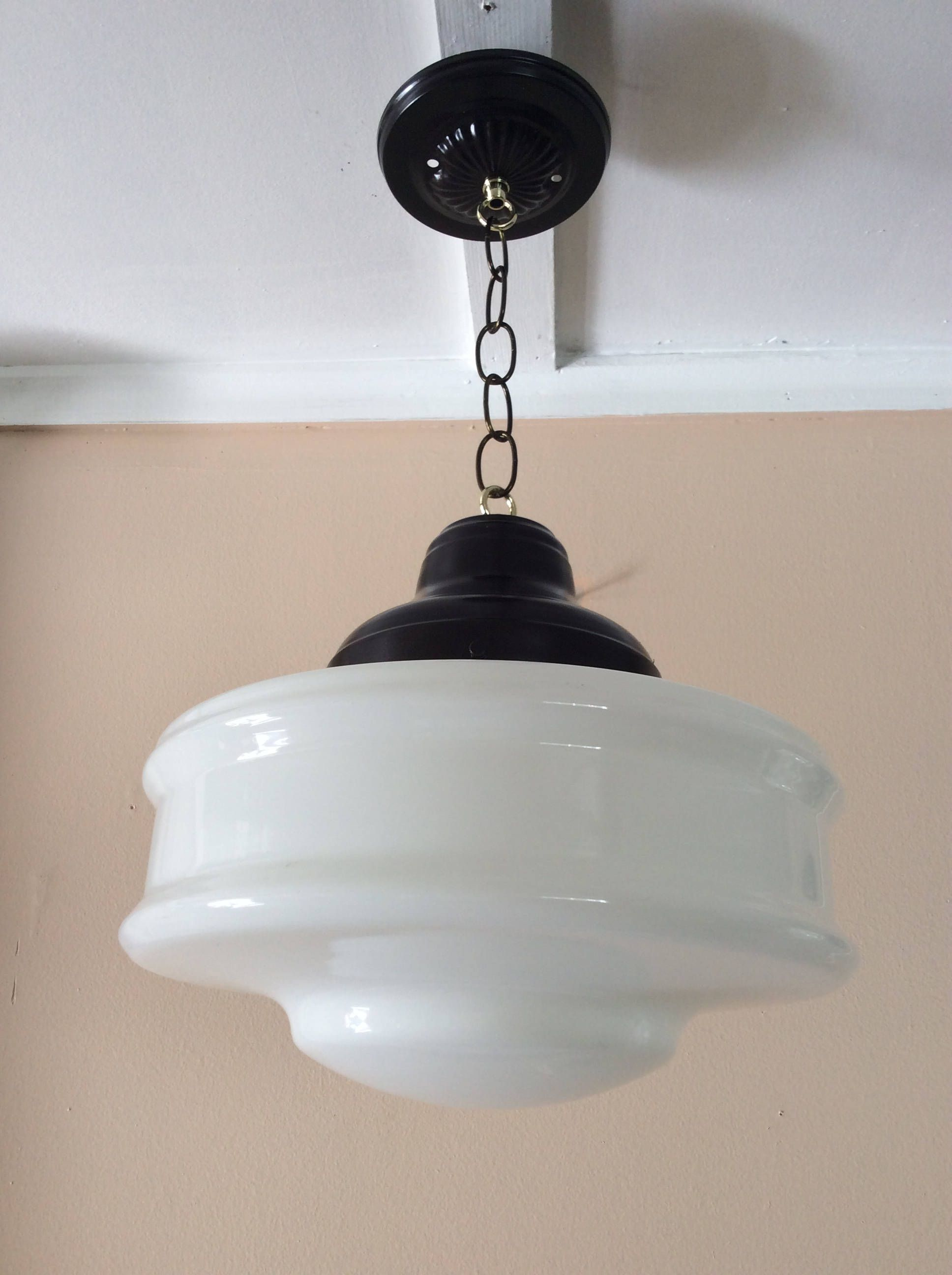 Antique church industrial school house pendant light fixture 1930s antique church industrial school house pendant light fixture 1930s milk glass art deco arubaitofo Gallery