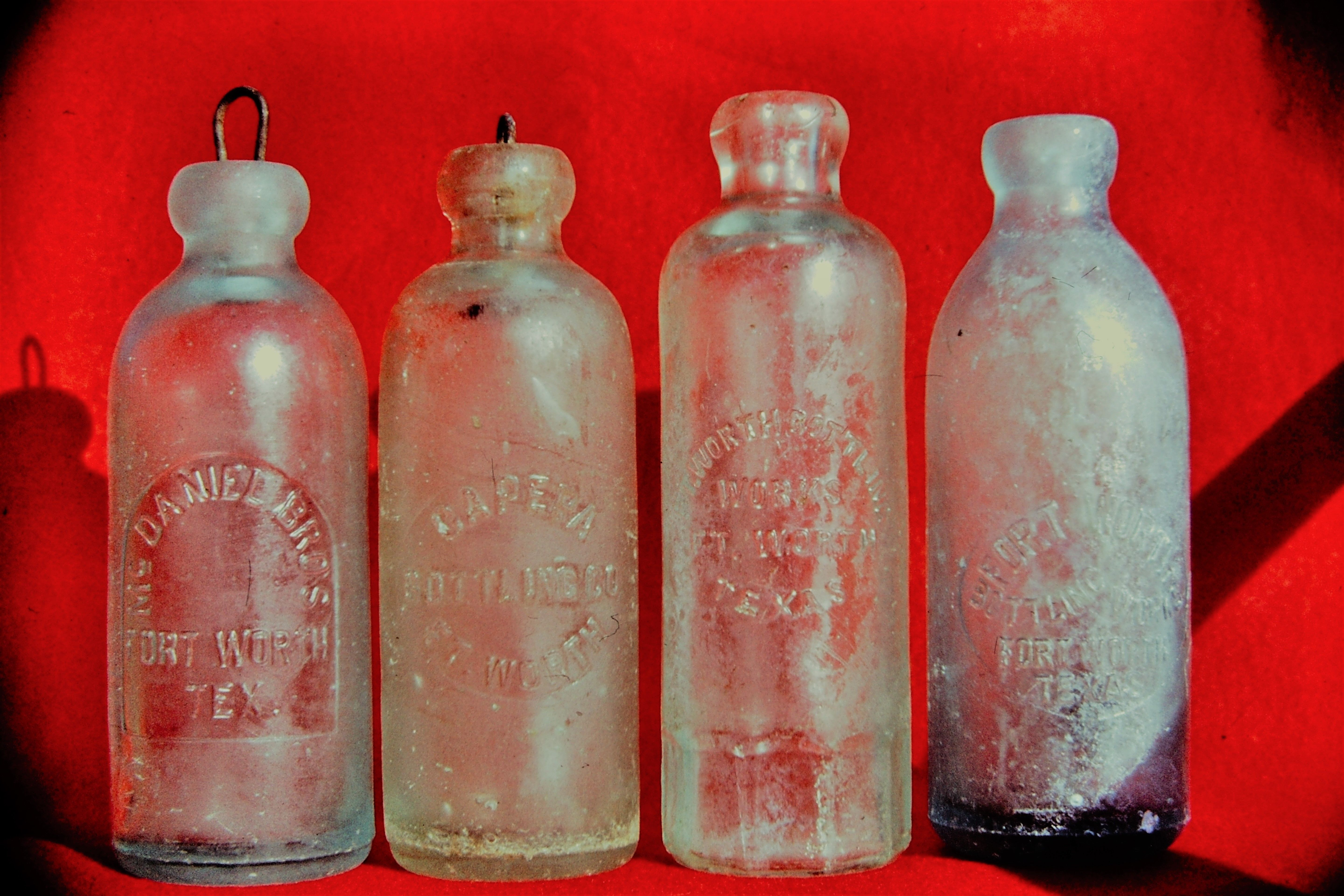 Ft. Worth, Texas, USA ..Hutchinson top soda bottles from late 1800s, Capera, McDaniels, Ft. Worth Bottling Works, etc. from my collection
