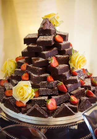 Noncake wedding cakes I want a brownie tower for my groom who