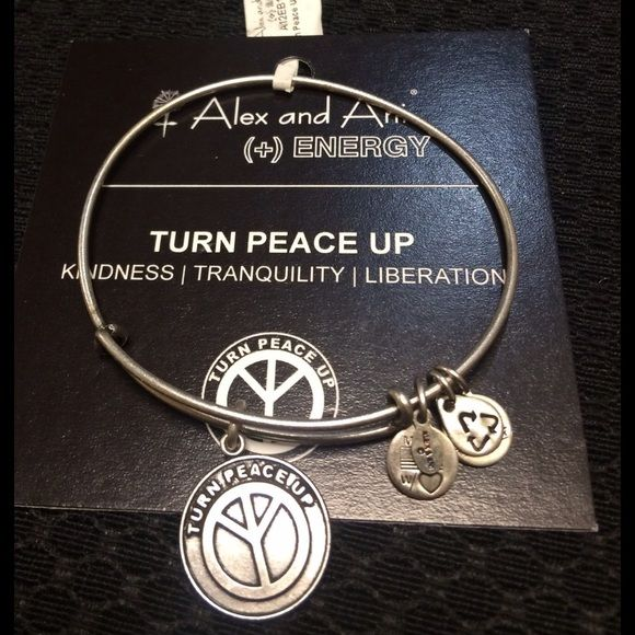 Authentic Alex & Ani Silver Turn Peace Up Bracelet Authentic Alex & Ani Silver Turn Peace Up Bracelet new with tag and card. A black box is provided. Alex & Ani Jewelry Bracelets