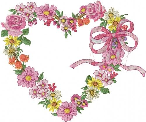 Free Floral Heart Embroidery Design Plants Embroidery Designs