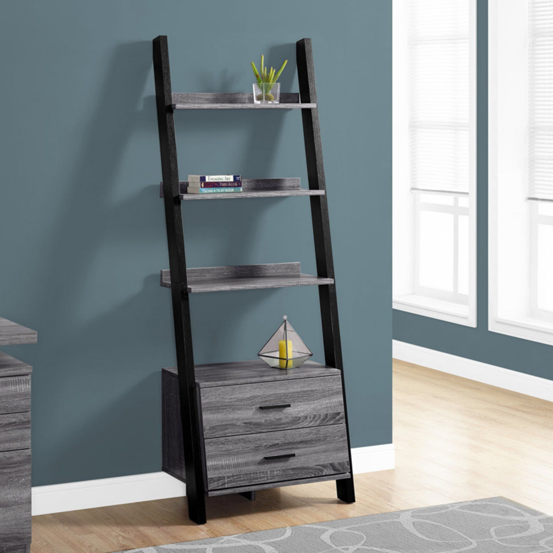 Merveilleux Monarch Specialties Ladder Bookcase With Storage Drawers   I 2755