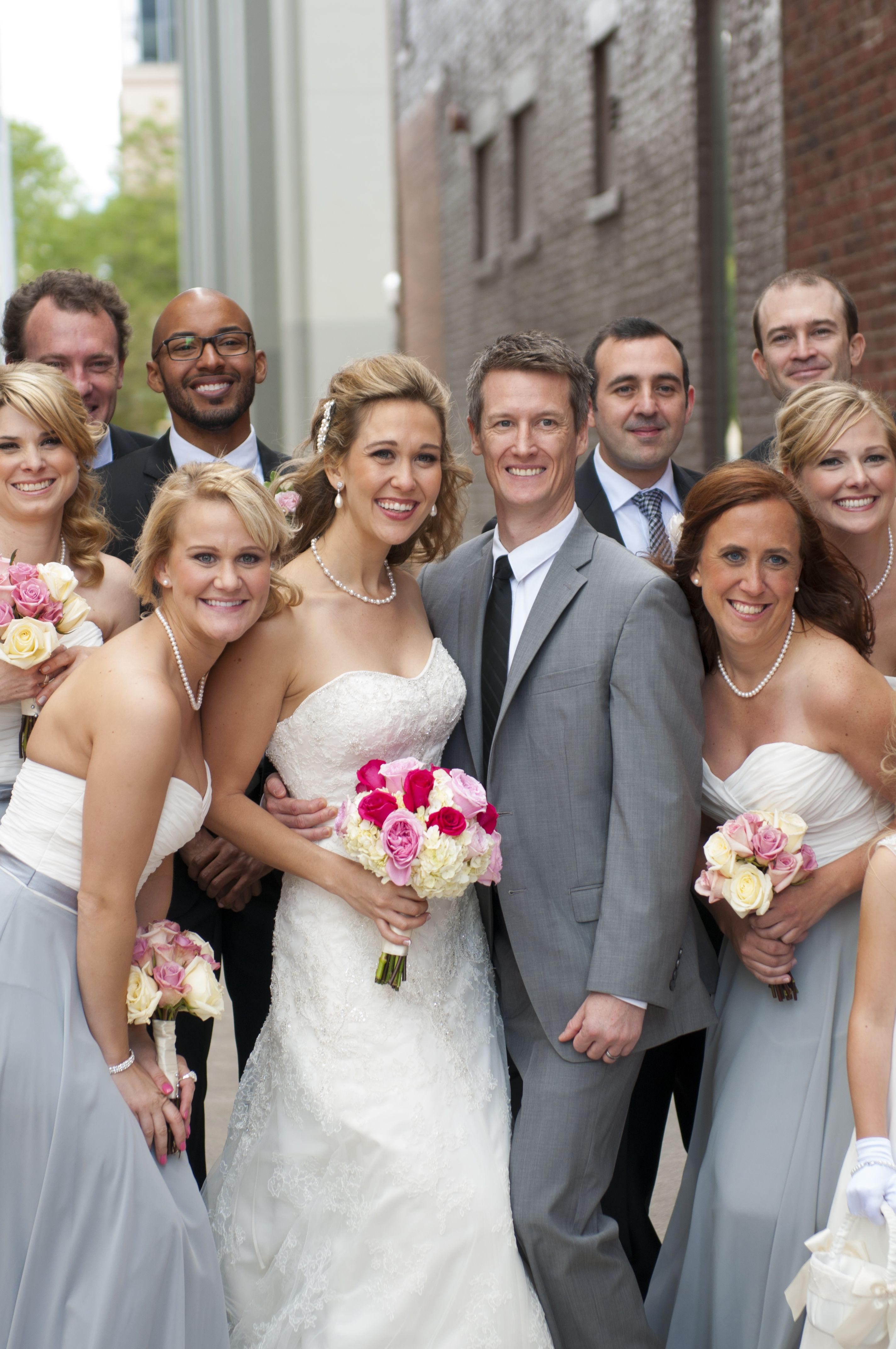 Pink Gray Wedding Flowers Tuxes Bridesmaid Dresses Photo By