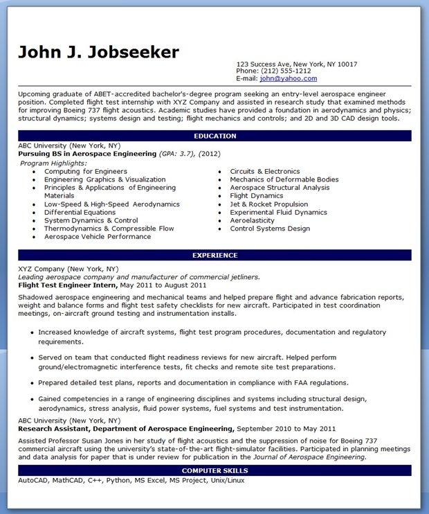 Entry Level Aerospace Engineer Resume Sample Engineering Resume Mechanical Engineer Resume Entry Level