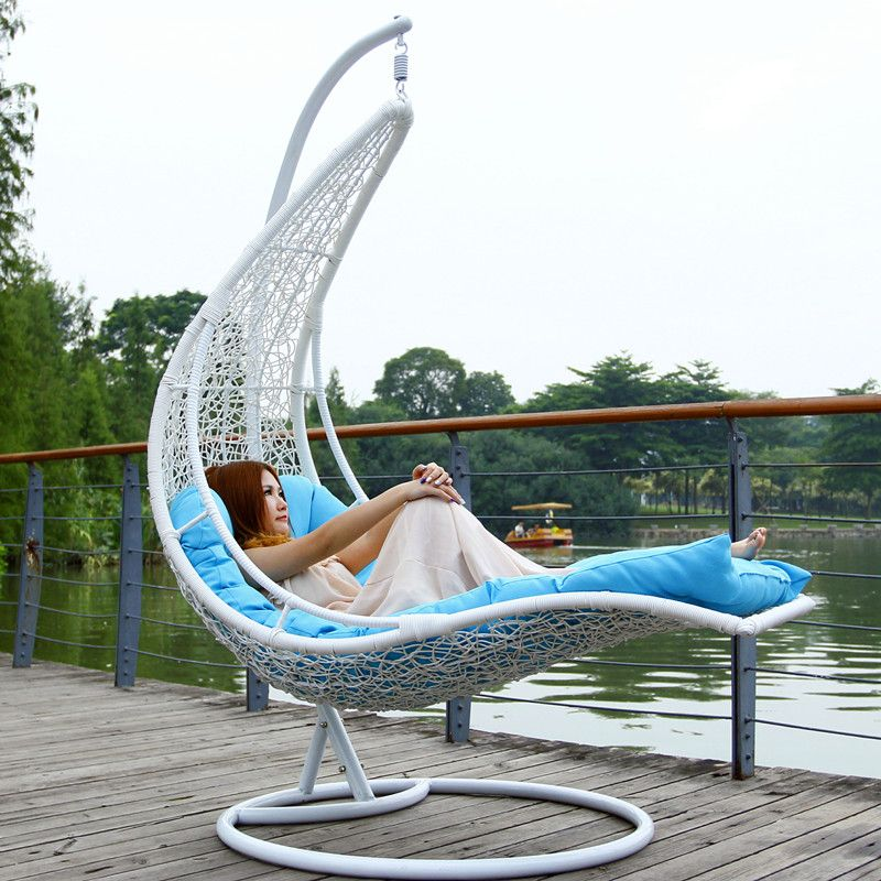 Outdoor Outdoor Swing Rattan Hanging Basket Hanging Chair Leisure Chair  Moon Boat Hammock Cradle Rocking Chair
