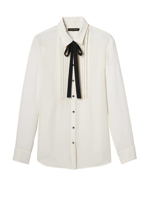 9dcf814ae8f Banana Republic Womens Dillon-Fit Tuxedo Shirt With Tie White ...