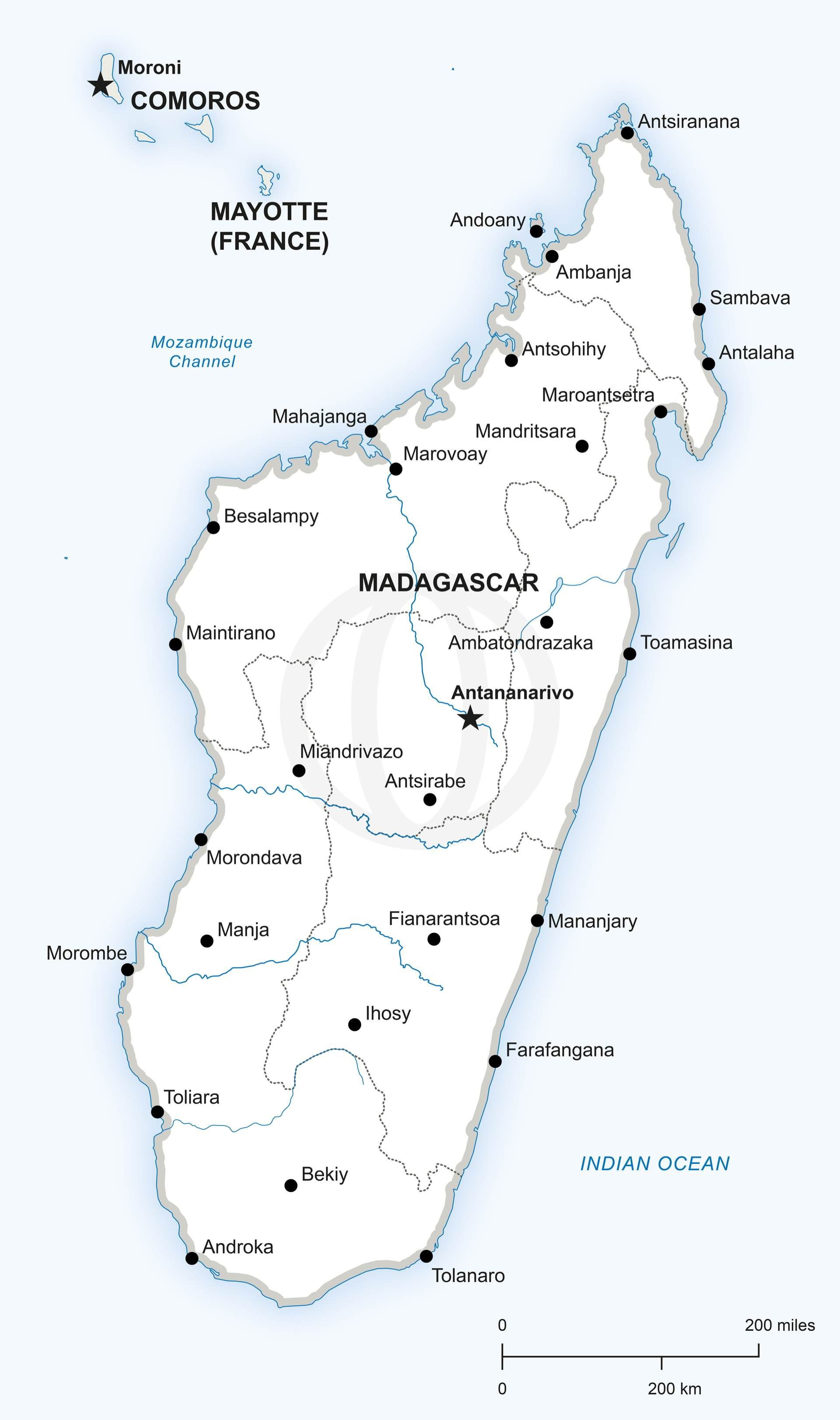 Map Of Africa Madagascar.Map Of Madagascar Political Madagascar Map Of Madagascar Map