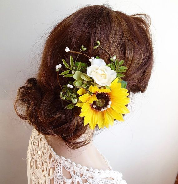 51 Romantic Wedding Hairstyles: Sunflower Hair Clip Sunflower Hair Comb Yellow By