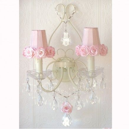 Exquisite Rose Double Light Wall Sconce With Pink Rose Shades 260 10 Thebellacottage Shabbychic Free Shabby Chic Pink Shabby Chic Bathroom Shabby Chic Room