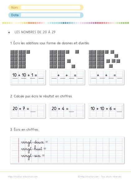 exercices de maths cp les nombres de 20 29 exercices. Black Bedroom Furniture Sets. Home Design Ideas