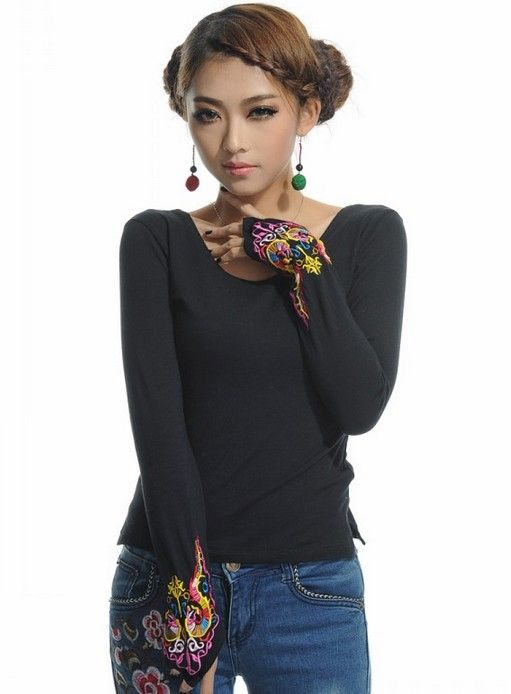 Chinese Style Embroidering Long Sleeve T-Shirt Black-- Click on the picture to order it>>Shop price:US$10.32---#shoes #wholesale #fashion #lovely #cheap #Korean #dress #sexy #clothes#