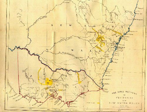 Map Of Nsw And Victoria Australia.1852 Map By David Mackenzie Of Nsw And Victoria Showing The
