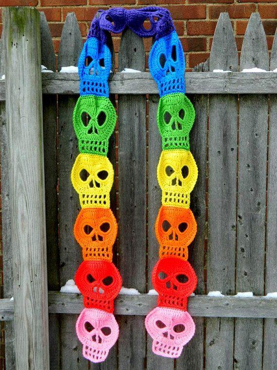 Image result for free skull crochet scarf pattern …   Pinteres…