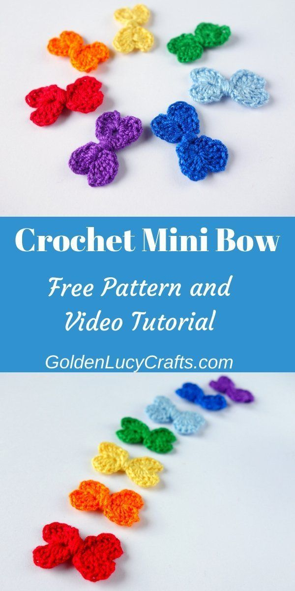 Crochet Mini Bow, Heart Bow, Free Crochet Pattern, Easy #crochetbowpattern
